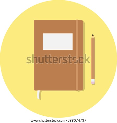 Closed notebook with pencil and pen in top view. Sketchbook or diary. Vector illustration