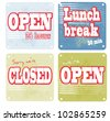 Closed Open Lunch Break symbols - stock vector