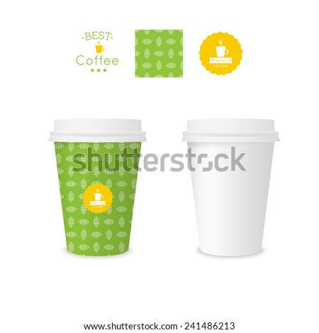Closed paper cup for coffee with texture. Sample seamless pattern coffee badge. Mock up