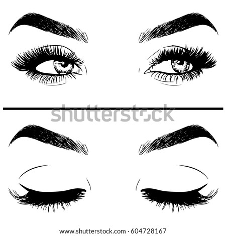 Pencil Drawing Closed Eyes Autotraced Realistic Stock ...