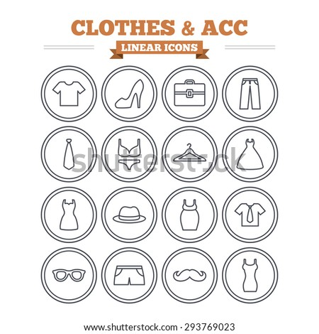 Clothes and accessories linear icons set. Shirt with tie, pants and woman dress symbols. Hat, hanger and glasses thin outline signs. Underwear and maternity clothes. Flat vector