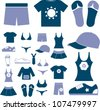 clothes icons set, vector - stock vector