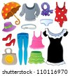 Clothes theme collection 2 - vector illustration. - stock vector