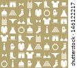 clothing icons on beige background - stock