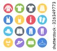 clothing icons set - stock vector
