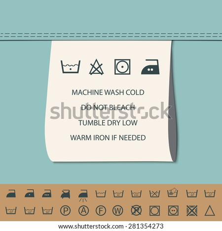 clothing label and washing symbol