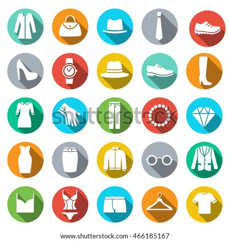Clothing Store Icon. Flat style icons in circles with long shadows. Vector illustration.