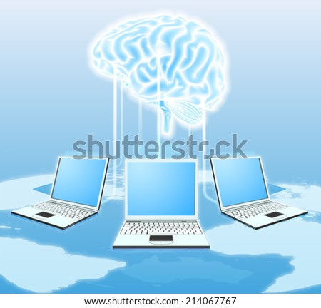 Cloud brain computer concept of computers all over the world connected to a central cloud or brain