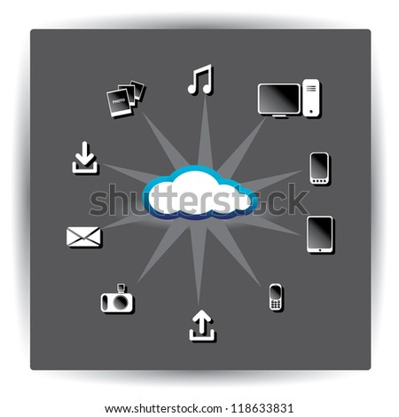 ... Computing concept background with a lot of icons. vector illustration