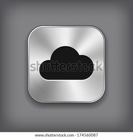 Cloud computing icon - vector metal app button with shadow