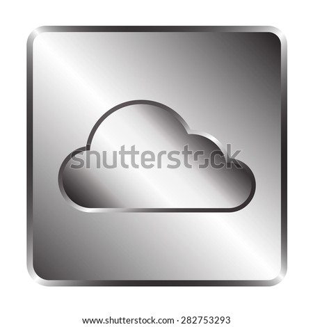 Cloud icon on silver plate, vector illustration