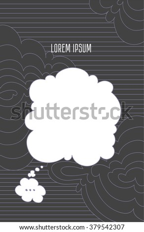 Cloud icon with texts box, idea box over the stripes clouds. Bedge line on dark background. Vector illustration for design and place for text.