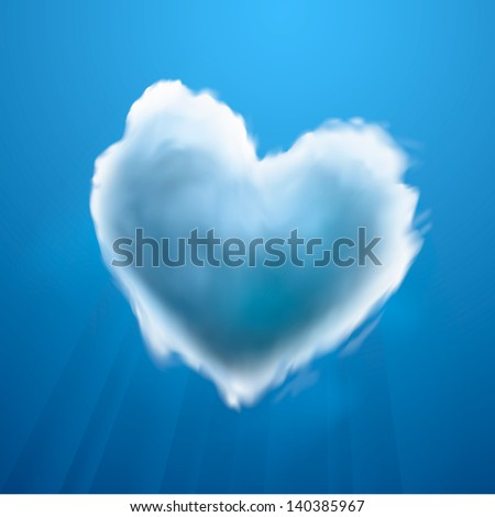 Cloud-shaped heart on a sky, vector illustration.