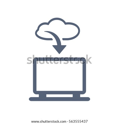 Cloud Technology Icon Vector Flat Design Style