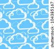 Cloud technology vector light blue pattern background - stock photo