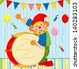 Clown playing the drum - stock photo