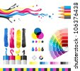 CMYK color mode design elements - stock vector