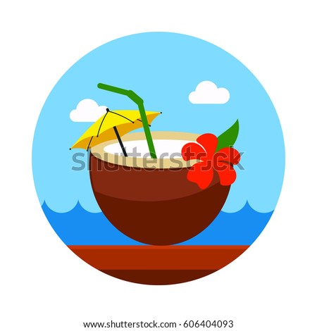 Coconut Drink With Straw Vector Icon Beach Summer Summertime Holiday Vacation