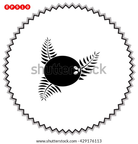 Coconut icon. Simple black vector symbol. Logo for web. Image for business.