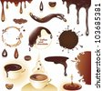 Coffee and chocolate. Set of drops and splashes. Vector illustration. - stock vector