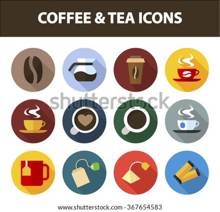 Coffee and tea icon set with long shadow effect for Web, Presentations and Mobile Application. Isolated on white