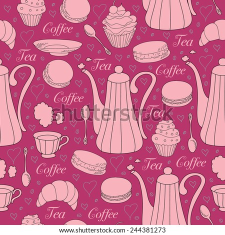 Coffee and tea seamless pattern. Pots, cup, spoon, macaroons, cupcake. Vector illustration.