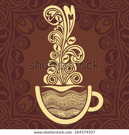 Coffee cup and pattern background vector illustration