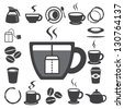 Coffee cup and Tea cup icon set.Illustration eps10 - stock