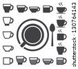 Coffee cup and Tea cup icon set.Illustration eps10 - stock photo