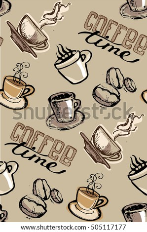seamless doodle coffee pattern - photo #36