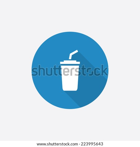 coffee Flat Blue Simple Icon with long shadow, isolated on white background