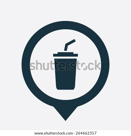 coffee icon map pin on white background