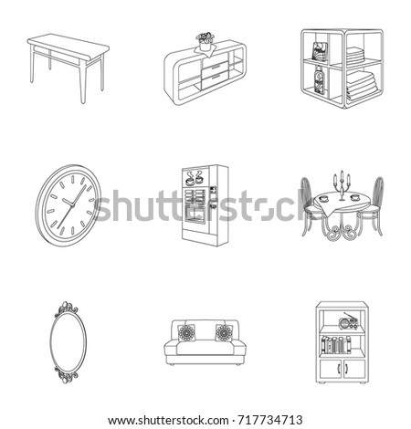 isometric office furniture vector collection. Coffee Maker, Sofa, Mirror, Table Service In The Restaurant And Other Web Icon Isometric Office Furniture Vector Collection