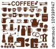 Coffee related silhouette symbols - stock photo