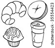 Coffee Shop Food Items Line Art - stock vector