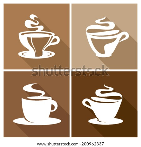 Coffee vector icon set with shadow effect