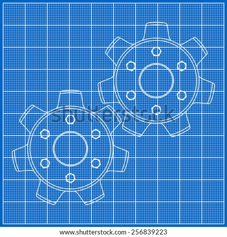 Cogs (gears) on blueprint paper. Vector illustration
