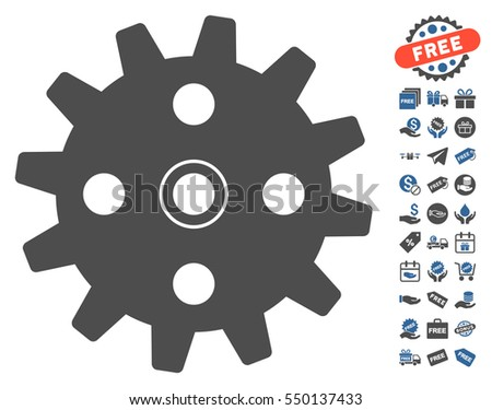 Cogwheel icon with free bonus images. Vector illustration style is flat iconic symbols, cobalt and gray colors, white background.