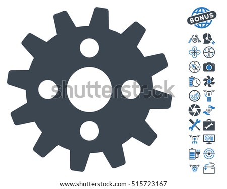 Cogwheel pictograph with bonus aircopter tools pictograms. Vector illustration style is flat iconic symbols on white background.