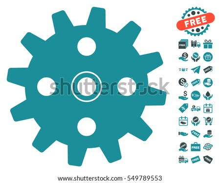 Cogwheel pictograph with free bonus pictograms. Vector illustration style is flat iconic symbols, soft blue colors, white background.