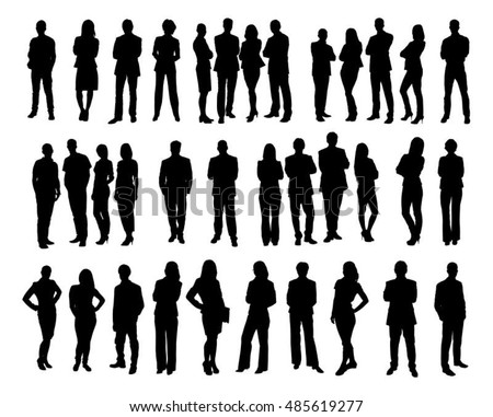 Collage of silhouette business people standing against white background. Vector image
