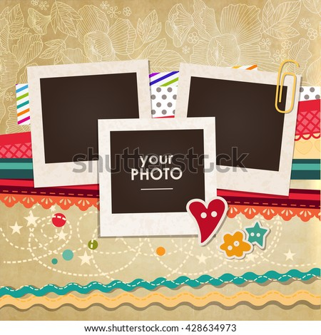 Collage photo frame on vintage background. Album template for kids, family or memories. Scrapbook concept, vector illustration.