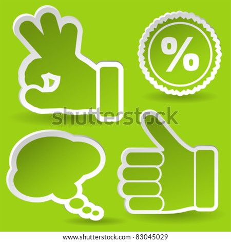 Collect Sticker with Hand, Speech Bubble and Stamp Icon, element for design, vector illustration