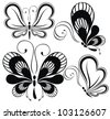 Collection black and white butterflies - stock vector