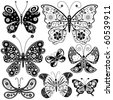 Collection black and white butterflies for design isolated on white (vector) - stock photo