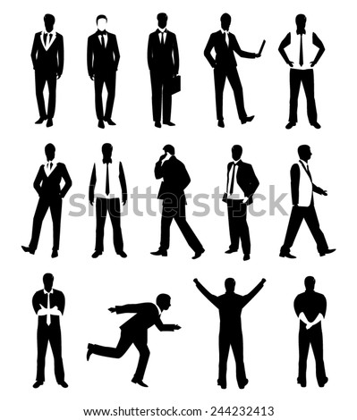 Collection Business people man design vector in different poses