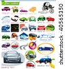 COLLECTION_7 Exclusive Series of Auto, Motors and Car Icon Set for design, vector illustration. Glossy symbols for Web. Set abstract color element corporate templates. Just place your company name. - stock photo