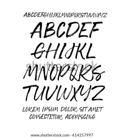 Collection Hand Drawn Letters Vector Alphabet Stock Vector