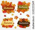 Collection of autumn labels with leaves - stock vector
