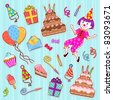 collection of birthday icons - stock vector